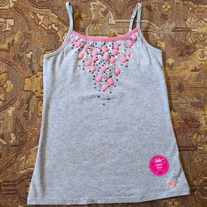 Justice Grey Camisole with pink beads and sequins